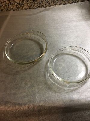 Set of two Pyrex casserole dish lids 682 for a 1qt round dish and 683 for 1 1/2qt round dish for Sale in Westerville, OH