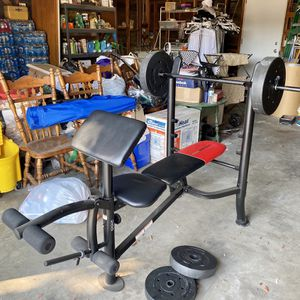 Beginner Bench w/ Bar & 80 lbs for Sale in Fresno, CA