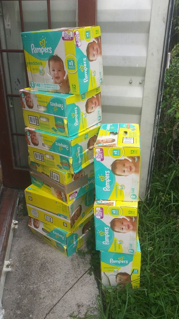 Nine pampers 148 count each. Size 2. With a 720count baby wipes All for 150
