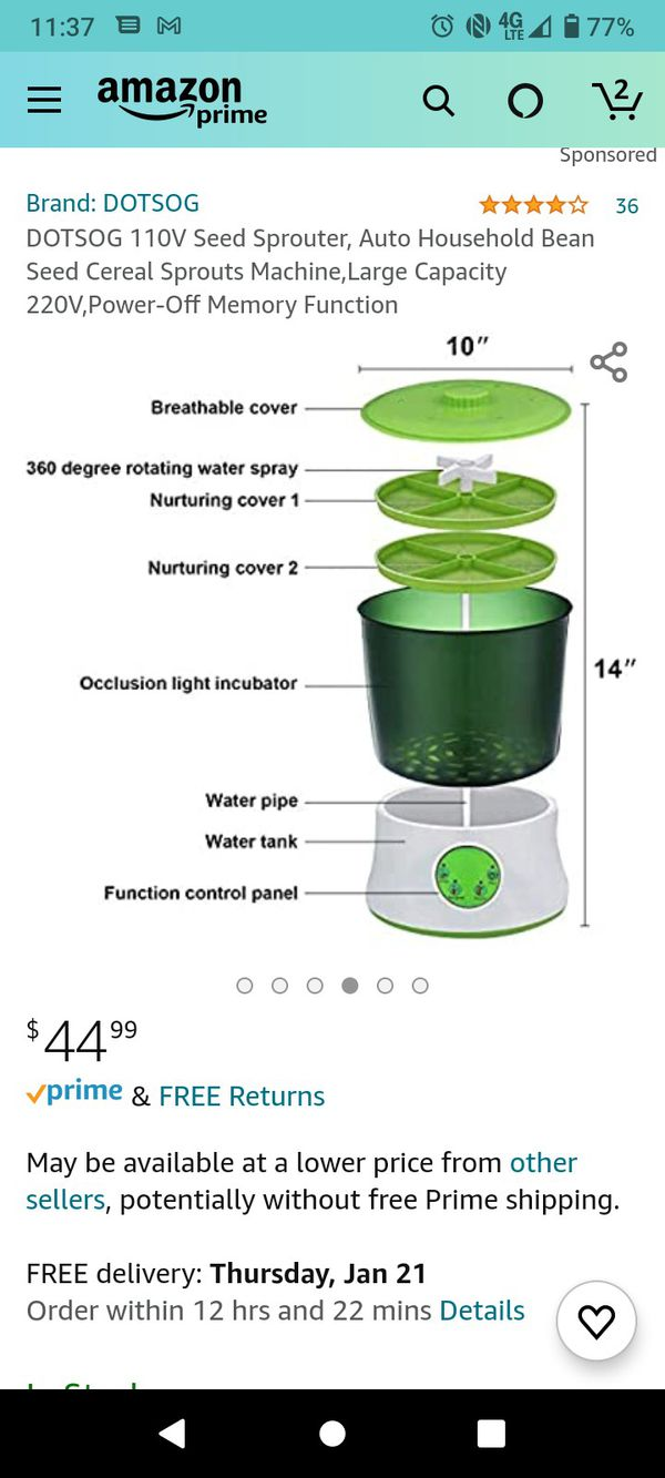 Dotsog 110 Volt Seed Sprouter Sd Section G 1 In Stock
