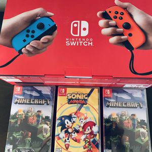 Nintendo Switch Console with Neon Blue & Red Joy-Con. 2 Minecraft. 1 Sonic Mania. All New for Sale in Pineville, LA