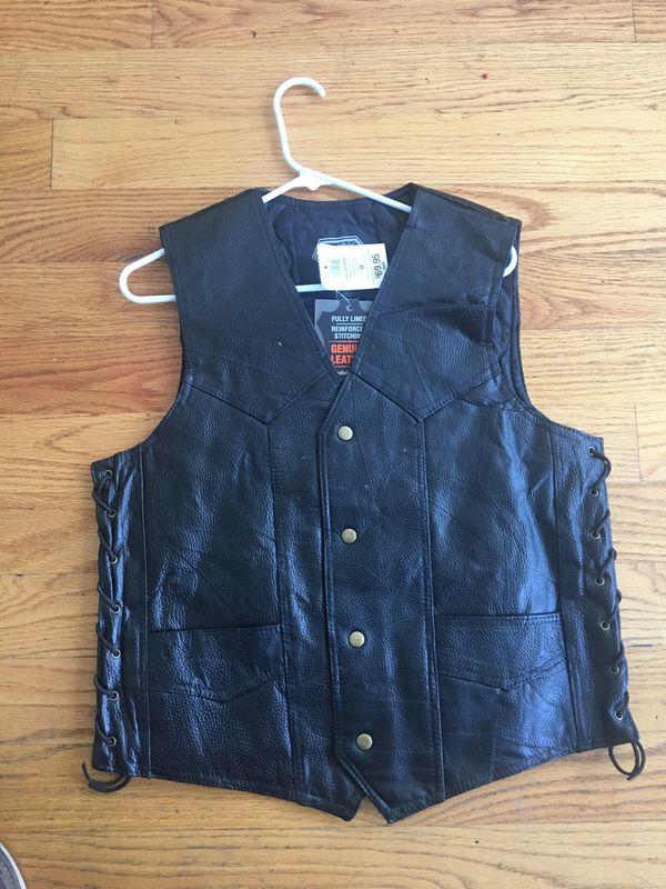 Leather biker vest motorcycle jacket