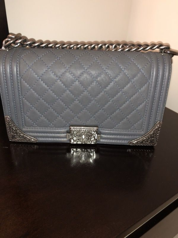 Chanel Grey Texas Medium Boy Bag