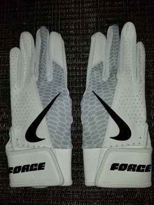 Brand New Nike Trout Force Edge White Grey Baseball Batting gloves Sizes Kids Youth Small, Medium, Large for Sale in West Covina, CA