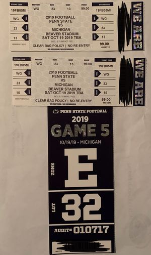 2 PSU vs Michigan with parking for this Saturday for Sale in Huntingdon Valley, PA