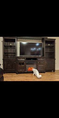 Solid Wood Entertainment Center With Fireplace for Sale in Vancouver,  WA