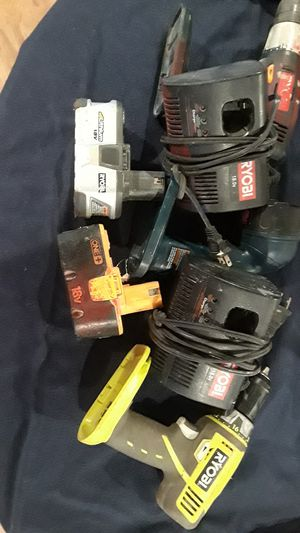 Ryobi (2) drills-(2) chargers (2) batteries (1) flashlight $15obo for Sale in Port Acres, TX