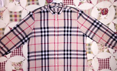 Mens burberry brit large button up for Sale in Spring Hill,  TN