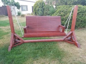 Handcrafted Solid Wood Porch Swing with Stand for Sale in Modesto, CA