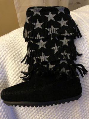 Little girls fringe boots with silver stars for Sale in Methuen, MA