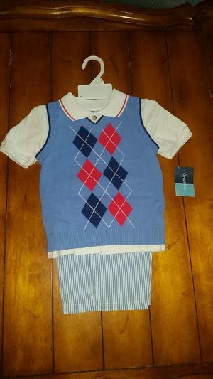 New Size 4T Boys Blue summer dress up outfit stripe shorts and argyle print sweater vest with matching Polo top church wedding nwt outfit for Sale in Gilbert, AZ