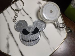 Disney nightmare before christmas jack skelington badge reel or keychain for Sale in Laveen Village, AZ