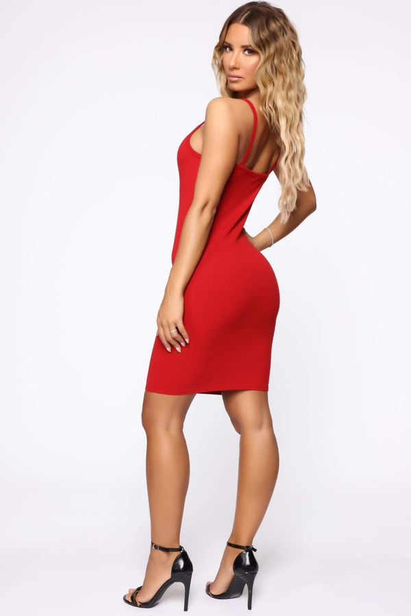 Red Midi Casual Dress NEW Medium Size Vestido Rojo Nuevo Mediano