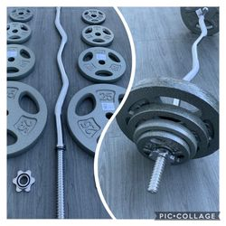 Standard Weights 2x25lbs 2x10lbs 2x5lbs 2x2.5lbs Standard Ez Curl Bar (BRAND NEW) for Sale in Riverside,  CA