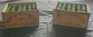 Antique 7-Up wood crates and bottles from Los Angeles and San Bernardino for Sale in Pomona, CA