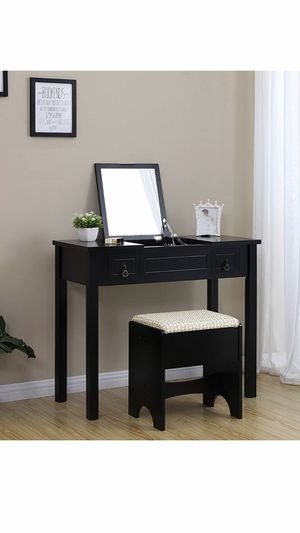 Vanity Set with Flip Top Mirror Makeup Dressing Table Writing Desk with 2 Drawers Cushioned Stool 3 Removable Organizers Easy Assembly, Black for Sale in Corona, CA