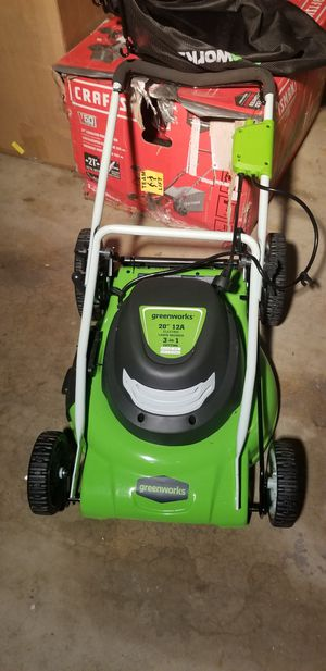 """Greenworks 20"""" 12a corded lawn mover for Sale in West Covina, CA"""