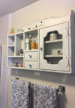 Country wall cabinet with glass door and 2 drawers for Sale in Port Hueneme, CA