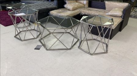3 PCS metal glass Coffee table set for Sale in Houston,  TX