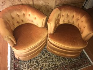 TWO DREXEL HERITAGE SWIVEL BARREL CHAIRS VINTAGE MID CENTURY for Sale in Gainesville, VA