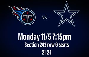 4 Cowboys Monday Night Game Tickets 11/5 for Sale in Dallas, TX