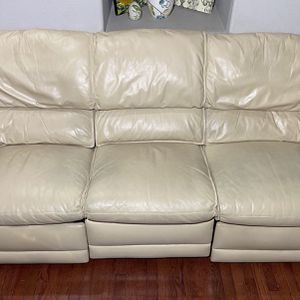 Hancock & Moore Beige Genuine Leather 3-Seat Reclining Couch for Sale in Oregon City, OR