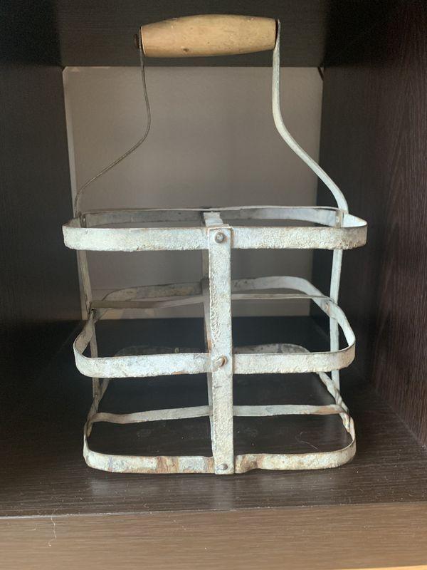 Vintage Metal Milk Carrier