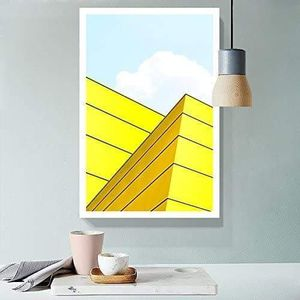 ((FREE SHIPPING)) fresh yellow color tone modern building drawing - giclee print gallery wrap modern home decor Painting like print for Sale in San Francisco, CA
