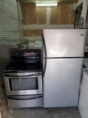 Frigidaire stainless steel glass top stove and refrigerator for Sale in Nashville, TN