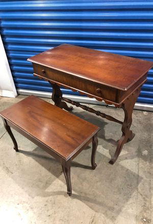 Antique sitting desk with bench for Sale in Fairfax, VA