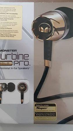 Monster Turbine Pro Gold wired hi-fidelity earbuds / earphones. for Sale in Brea,  CA