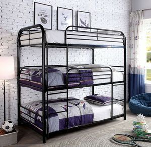 Black metal triple bunk bed No Credit Needed No Credit Check Apply Today for Sale in Downey, CA