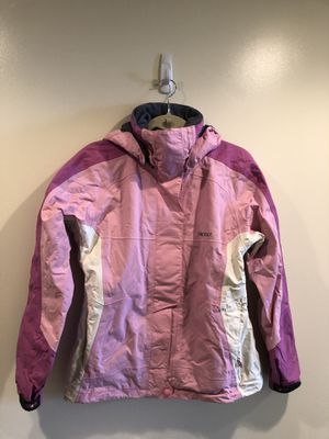 MARMOT SKI SNOWBOARDING WOMENS JACKET COAT waterproof with inside liner. Size small, pink and white with zipper and Velcro closures and hood. for Sale in Washington, DC
