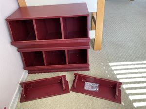 Red Pottery Barn Toy Storage Bins and Wall Shelves for Sale in Encinitas, CA