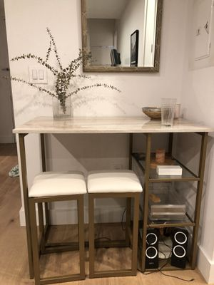 3 piece pub set. Marble table and two bar stools. for Sale in Brooklyn, NY