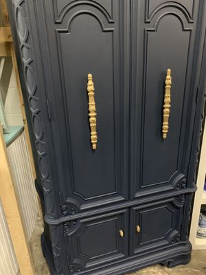 Refinished Antique Navy Blue Armoire with Gold Hardware for Sale in Raleigh, NC