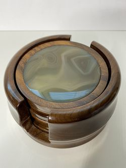 Vintage Brazil Wood And Green Agate Geode Stone Coaster Set Of 6 With Holder for Sale in Sacramento,  CA