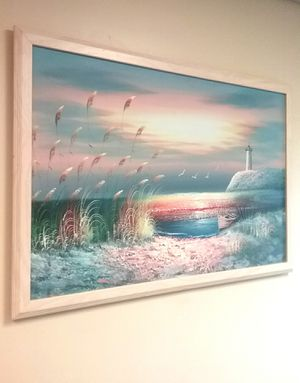 38x26 B.NELSON ORIGINAL SEASCAPE/ LIGHTHOUSE PAINTING STRETCHED CANVAS FRAMED! SHIPPING IS AVAILABLE! for Sale in Cincinnati, OH