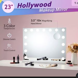 Large Frameless Hollywood Lighted Makeup Mirror w 15 Dimmable LED Vanity Lights 💖3 Color Temperatures💖Built-In Memory💖UL Certified free shipping for Sale in Bay Point, CA