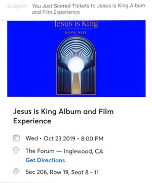 4 Jesus is King Album & Film Experience Kanye Forum Los Angeles 10/23 TICKETS for Sale in Beverly Hills, CA