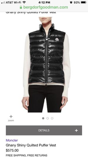 Moncler Ghany Shiny Quilted Puffer Vest size 00 for Sale in Falls Church, VA