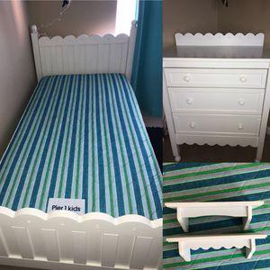 White Twin Frame, Mattress, Box Spring, Dresser, Shelves. Pier 1 Imports. READ BELOW. for Sale in Seminole, FL