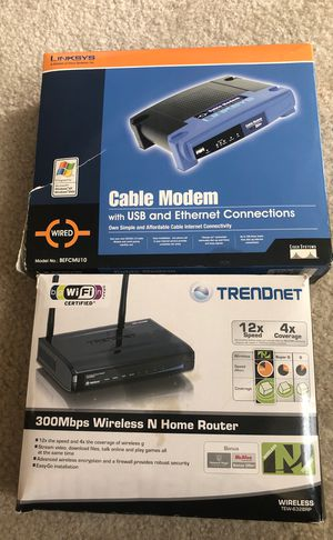 Linksys Cable Modem and Trendnet 300Mbps Wireless Router Bundle for Sale in Herndon, VA