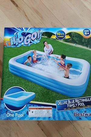 Bestway 10 ft Blue Rectangular Plastic Pool for Sale in Malden, MA