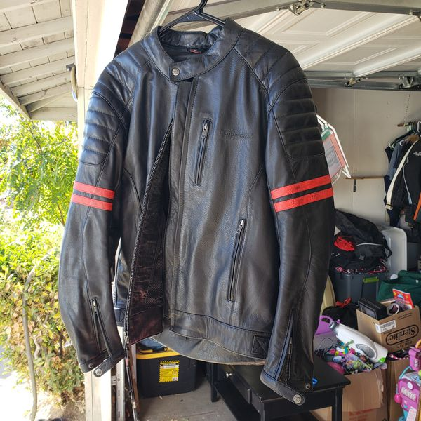 AGV Mens Leather Motorcycle Jacket Size LG