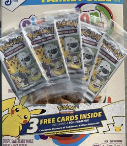 (5) Packs of Cinnamon Toast Crunch Pokemon 25th Anniversary Cards 3 cards each for Sale in Peoria,  IL