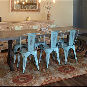 Farmhouse Chic Metal slat back distressed side chairs for Sale in Morrison, CO