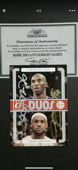 Kobey Bryant/Lebron James autographed card with certificate of authenticity for Sale in Vancouver, WA