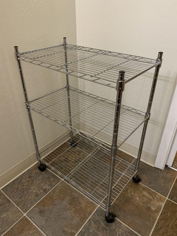 3 tier metallic storage shelf
