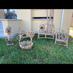 Yard Decore Mini Bench Plant Holder Set - Handmade Wood for Sale in Alameda, CA